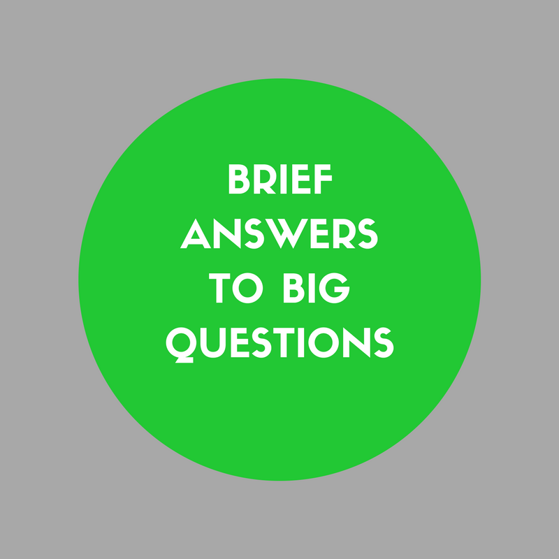 BRIEF ANSWERS TO BIG QUESTIONS